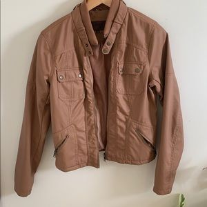 Leather Brown Zipper Jacket